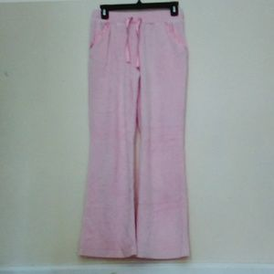 Baby Pink Crushed Velvet Wide Leg Sweatpants